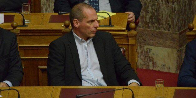ATHENS, GREECE - 2015/03/30: Greek Minister of Finance Yanis Varoufakis attends Greek parliament.Greek...