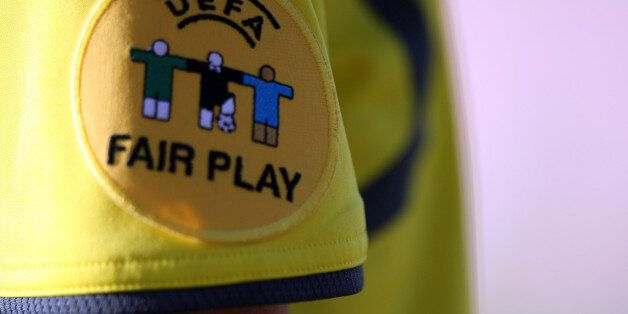 EUPEN, BELGIUM - MAY 07: The official Uefa Fair play logo is seen during the Womens Euro 2009 qualifier...