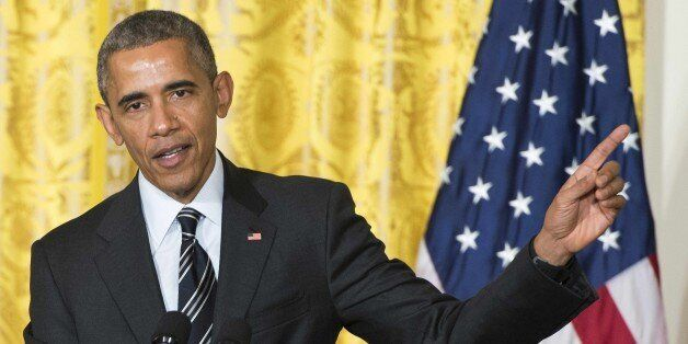 US President Barack Obama speaks during a joint press conference at the White House in Washington, DC,...