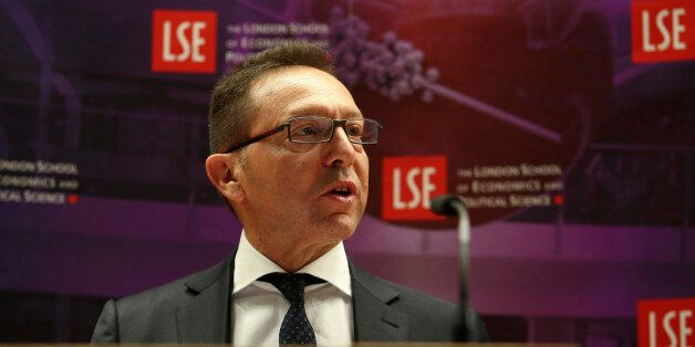 Yannis Stournaras, governor of the Bank of Greece, speaks during his address at the London School of...