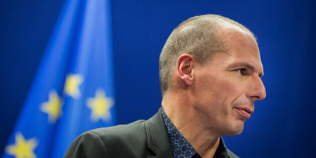 Yanis Varoufakis, Greece's finance minister, speaks during a news conference following a meeting of European...