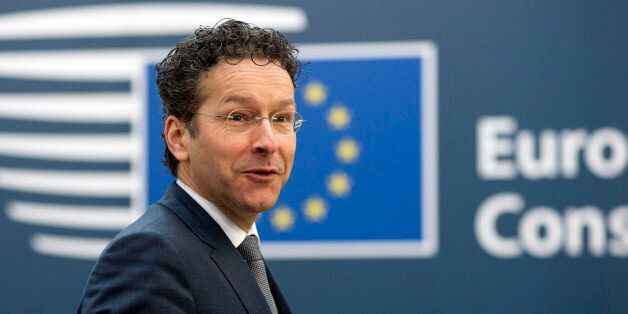 Dutch Finance Minister Jeroen Dijsselbloem arrives for an EU summit in Brussels on Thursday, Feb. 12,...