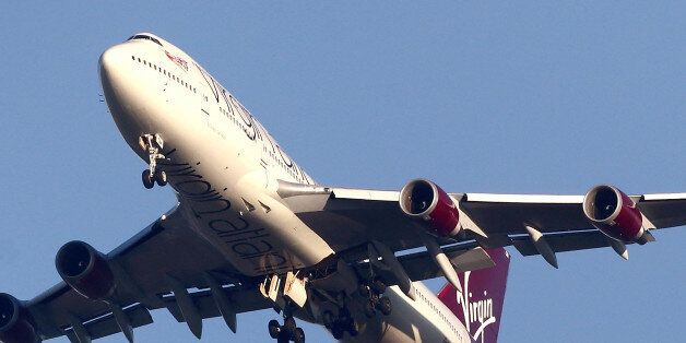 LONDON, ENGLAND - DECEMBER 29: A detailed view of the undercarriage of the Virgin Atlantic Boeing 747...
