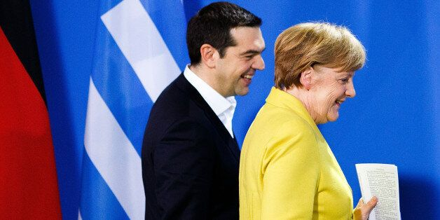 BERLIN, GERMANY - MARCH 23: German Chancellor Angela Merkel and Greek Prime Minister Alexis Tsipras arrive...