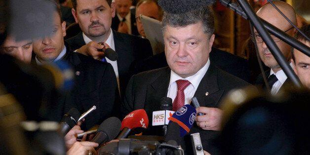 MILAN, ITALY - OCTOBER 17: Prime Minister of Ukraine Petro Oleksijovyc Porosenko speaks with the media...
