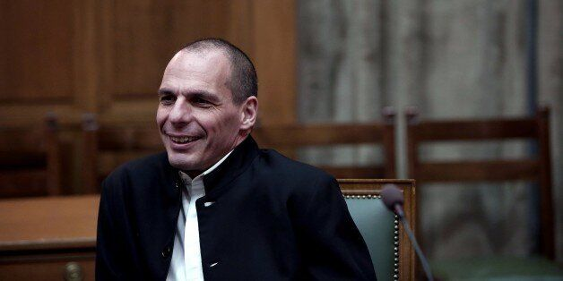 Greek Finance Minister Yanis Varoufakis attends a cabinet meeting at the Greek parliament in Athens on...
