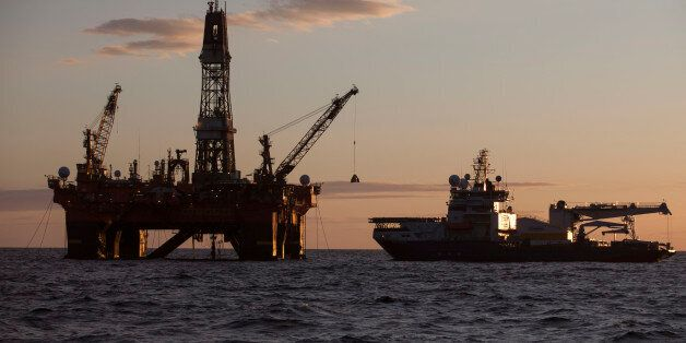 In this photo provided by the Rosneft company, West Alfa drilling platform is seen anchored at the Cara...