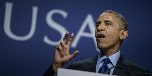 US President Barack Obama speaks during the SelectUSA Investment Summit at the Gaylord National Resort...