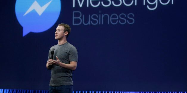 CEO Mark Zuckerberg gives the keynote address during the Facebook F8 Developer Conference Wednesday,...