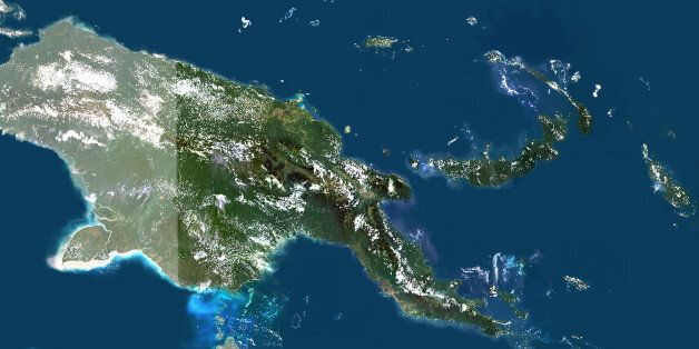 Satellite view of Papua New Guinea (with mask). This image was compiled from data acquired by LANDSAT...