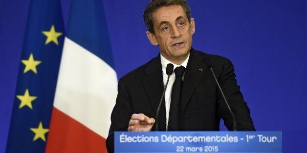 French UMP president Nicolas Sarkozy delivers a speech after the announcement of the first results of...