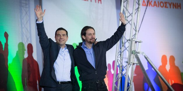 ATHENS, GREECE - JANUARY 22: Alexis Tsipras, leader of the radical leftist Syriza party is joined by...