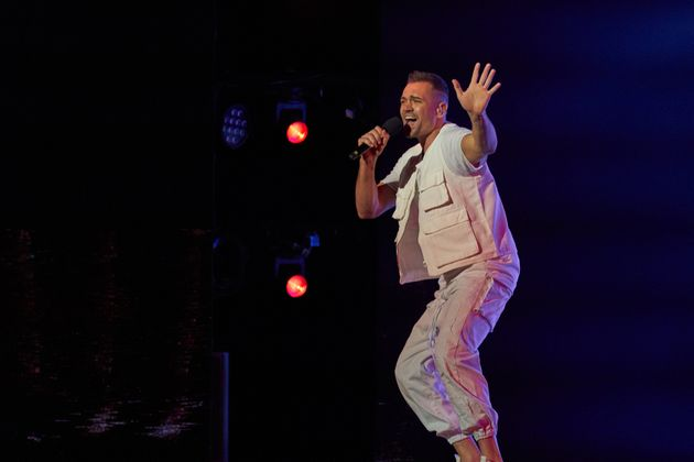 Mitch Tambo on stage during last night's AGT grand