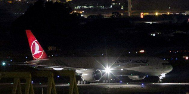 View of Turkish Airlines flight TK15 landing in Sao Paulo on March 30, 2015. The Turkish Airlines plane...