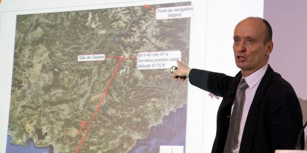 Remi Jouty, director of BEA, the French Air Accident Investigation Agency displays the trajectory of...