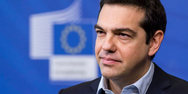 Greece's Prime Minister Alexis Tsipras addresses the media at the European Commission headquarters in...