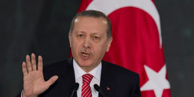 Turkey's President Recep Tayyip Erdogan speaks during a joint press conference with Mexico's President...
