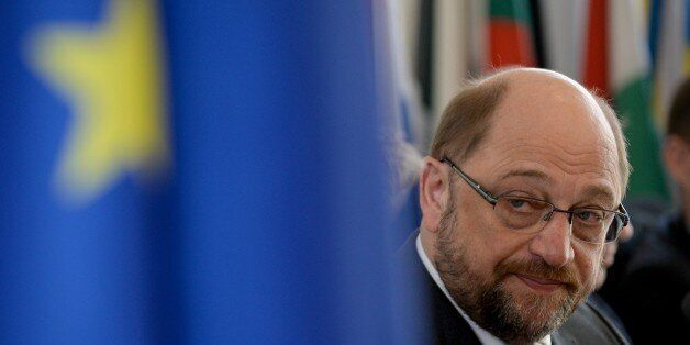 European Parliament President Martin Schulz attends a press conference in Beijing on March 17, 2015....