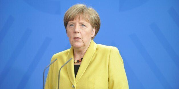 BERLIN, GERMANY - MARCH 16: German Chancellor Angela Merkel holds a press conference after his meeting...