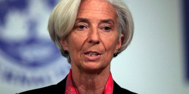Christine Lagarde, managing director of the International Monetary Fund (IMF), speaks in Santiago, Chile,...