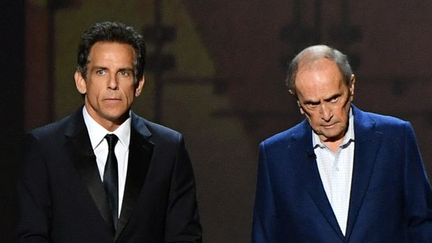LOS ANGELES, CALIFORNIA - SEPTEMBER 22: Ben Stiller and Bob Newhart speak onstage during the 71st Emmy Awards at Microsoft Theater on September 22, 2019 in Los Angeles, California. (Photo by Amy Sussman/WireImage)
