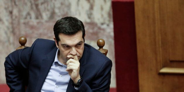 Greece's Prime Minister Alexis Tsipras attends a parliament session in Athens, on Tuesday, March 10,...
