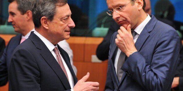 BRUSSELS, BELGIUM - MARCH 9: Eurogroup President and Dutch Finance Minister Jeroen Dijsselbloem (R) speaks...