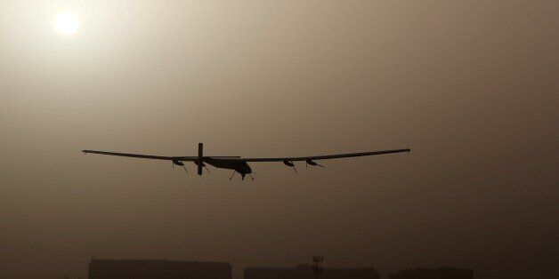 The Solar Impulse 2, takes off from al-Bateen airport in Abu Dhabi as it heads to Muscat, on March 9,...