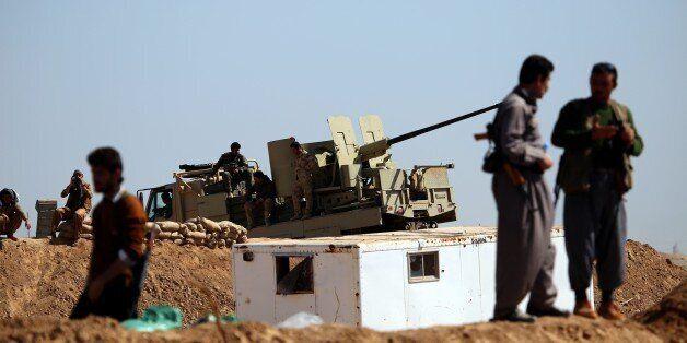 KIRKUK, IRAQ - MARCH 10 : Kurdish Peshmerga forces are seen in Tel Al Werd village 25 km far from Mulla...