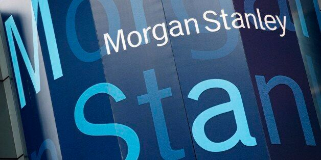 FILE - In this Oct. 18, 2011, file photo, the Morgan Stanley logo is displayed on its Times Square building....