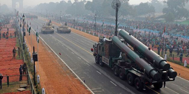 FILE- In this Jan. 23, 2011 file photo, Indian army Brahmos missile launcher passes on a flotilla towards...