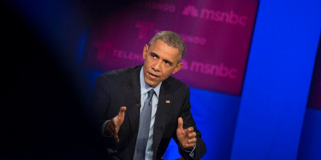 MIAMI, FL - FEBRUARY 25: President Barack Obama takes part in a MSNBC town hall event on immigration...