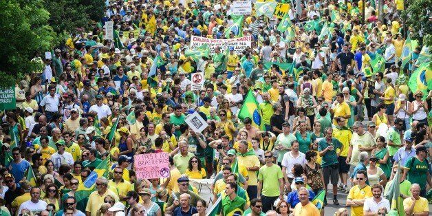 Demonstrators rally to protest against the government of president Dilma Rousseff in Porto Alegre, Brazil...