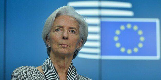 BRUSSELS, BELGIUM - FEBRUARY 20: International Monetary Fund Managing Director Christine Lagarde holds...