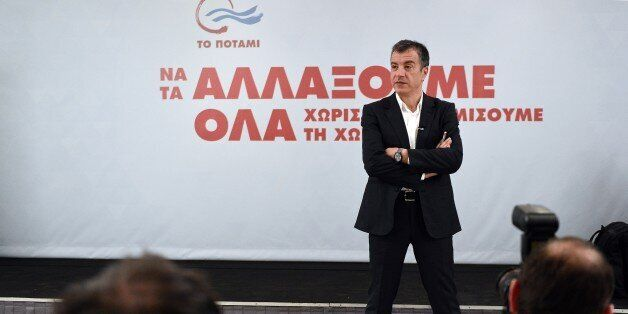 Stavros Theodorakis, a 51-year-old former journalist, speaks during a televised press conference of his...