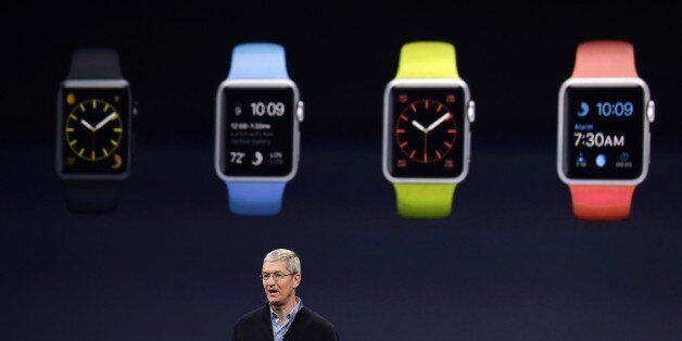 Apple CEO Tim Cook talks about the new Apple Watch during an Apple event on Monday, March 9, 2015, in...