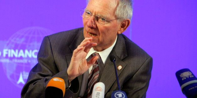 German's Finance Minister Wolfgang Schauble gestures during the press conference ending the G20 Finance...