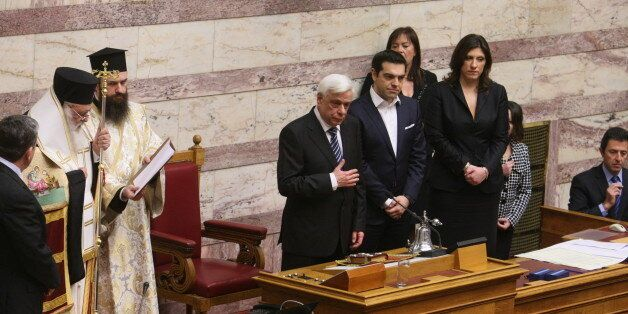 ATHENS, GREECE - FEBRUARY 17: Greek Prime Minister Alexis Tsipras (R) nominated Prokopis Pavlopoulos...