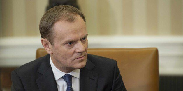 European Council President Donald Tusk meets with US President Barack Obama in the Oval Office of the...