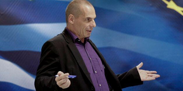 Greece's Finance Minister Yanis Varoufakis speaks during a press conference in Athens, on Wednesday,...
