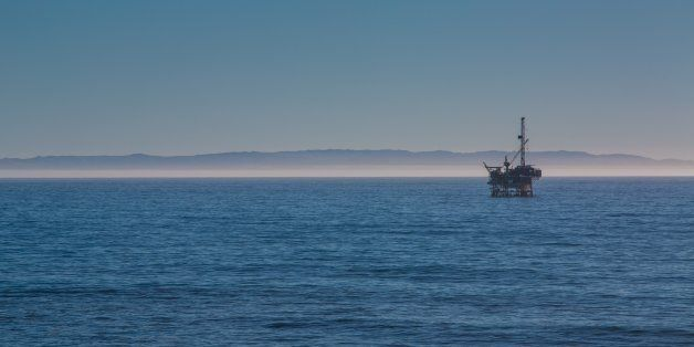 SANTA BARBARA, CA - FEBRUARY 10: An offshore oil drilling rig is viewed from a bluff at Ellwood Mesa...