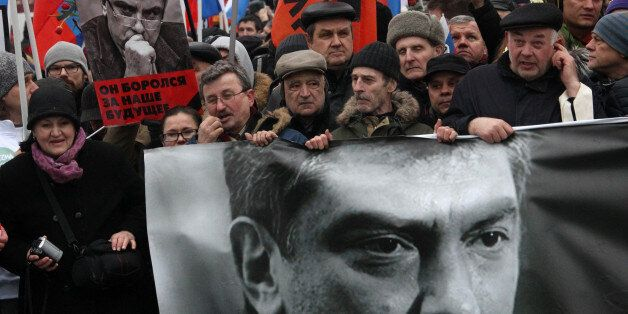 MOSCOW, RUSSIA - MARCH 01: People march in memory of Russian opposition leader and former Deputy Prime...