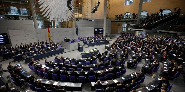 German President Joachim Gauck speaks during a ceremony commemorating the 70th anniversary of the liberation...