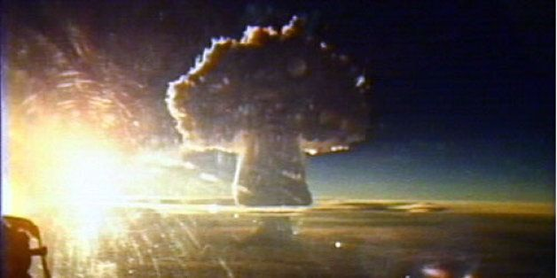 The mushroom cloud of Tsar Bomba, the largest nuclear weapon ever detonated, with a yield of approximately...