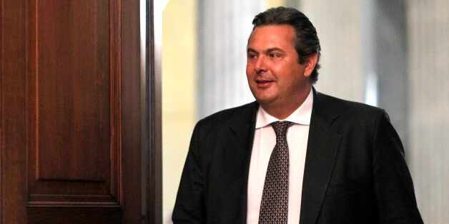 Panos Kammenos leader of the right-wing splinter Independent Greeks party arrives at the Presidential...