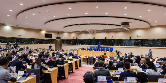 Dutch Finance Minister and the head of the eurogroup Jeroen Dijsselbloem, center back, attends a meeting...