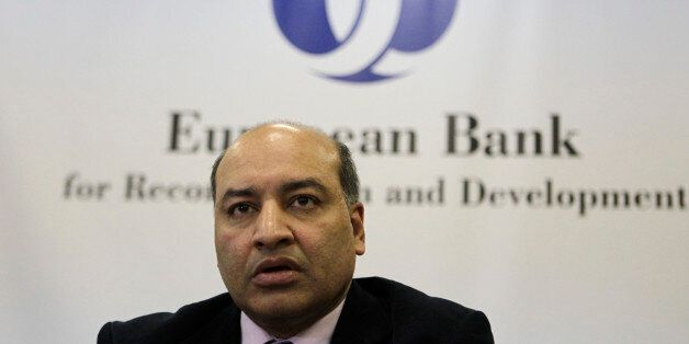 President of the European Bank for Reconstruction and Development Suma Chakrabarti speaks during a news...
