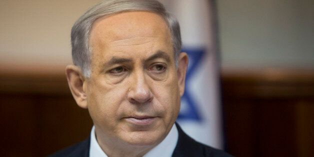 Israeli Prime Minister Benjamin Netanyahu attends the weekly cabinet meeting in his Jerusalem office,...