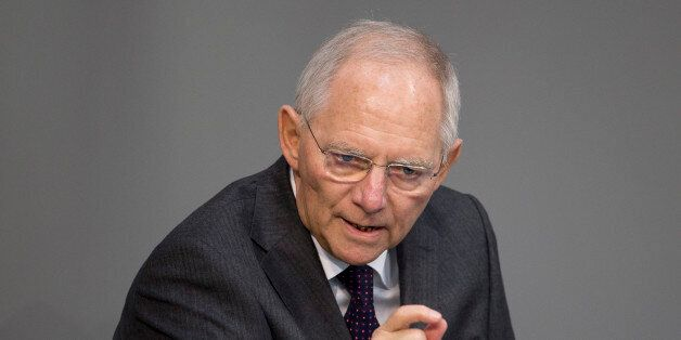 German Finance Minister Wolfgang Schaeuble speaks at the German parliament, the Bundestag in Berlin on...