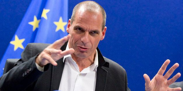 Greek Finance Minister Yanis Varoufakis speaks during a media conference after a meeting of eurogroup...
